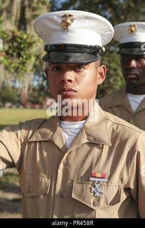U.S. Marine Corps PFC. Caleb Lasyone is the honor graduate for Platoon 3068, Kilo Company, 3rd Recruit Training Battalion, and graduated boot camp Sept. 7, 2018. Lasyone is from Winnfield, LA. - Stock Photo