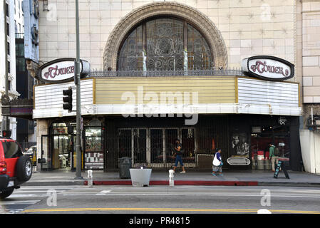 Los Angeles, CA - January 19, 2018: Entrance to the historic Tower Theatre in the Broadway Theater District during its restoration - Stock Photo