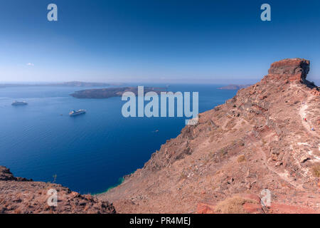 View over Skaros Rock in Santorini in Greece - Stock Photo