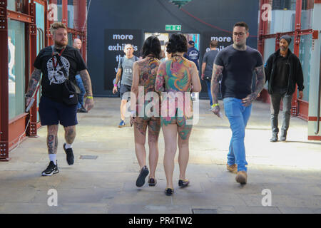 London, UK. 29th Sep, 2018. Japanese girls from Great Tang Tattoo causing a stir at the International London Tattoo convention 2018Credit: Paul Quezada-Neiman/Alamy Live News - Stock Photo