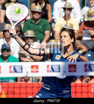 Spanish padel player Gemma Tray returns the ball to Alejandra Salazar and Marta Marrero during the semi final match of the Madrid WOpen of the World Padel Tour in Pozuelo de Alarcon, Madrid, Spain, 29 September 2018. EFE/ Javier Lopez Hernandez - Stock Photo