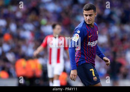Camp Nou, Barcelona, Spain. 29th Sep, 2018. La Liga football, Barcelona versus Athletic Bilbao; Philippe Coutinho of FC Barcelona Credit: Action Plus Sports/Alamy Live News - Stock Photo