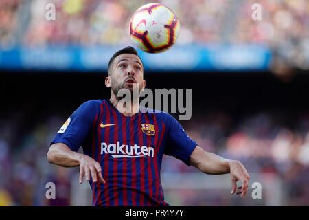 Camp Nou, Barcelona, Spain. 29th Sep, 2018. La Liga football, Barcelona versus Athletic Bilbao; Jordi Alba of FC Barcelona controls the ball Credit: Action Plus Sports/Alamy Live News - Stock Photo