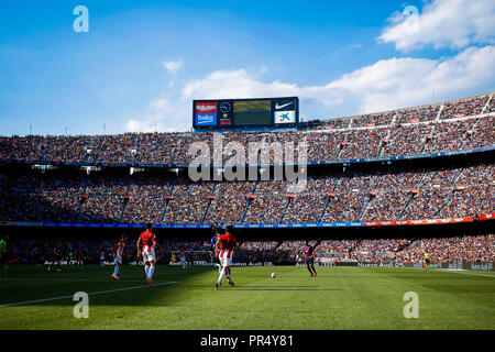 Camp Nou, Barcelona, Spain. 29th Sep, 2018. La Liga football, Barcelona versus Athletic Bilbao; Panoramic view of the Camp Nou stadium during the game Credit: Action Plus Sports/Alamy Live News - Stock Photo