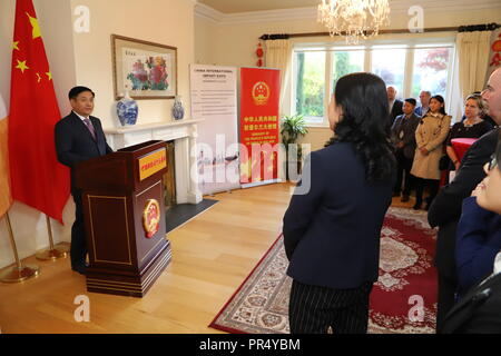 (180929) -- DUBLIN, Sept. 29, 2018 (Xinhua) -- Chinese Ambassador to Ireland Yue Xiaoyong (L) addresses a function at the Chinese Embassy in Dublin, Ireland, Sept. 28, 2018. A total of 27 Irish companies have confirmed to participate in the upcoming China International Import Expo (CIIE), the first of its kind ever to be held by China in its eastern coastal city of Shanghai in November. (Xinhua) (zhf) - Stock Photo