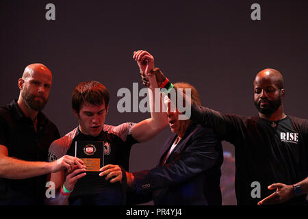 Westbury, New York, USA. 27th Sep, 2018. NICK RONAN defeated MATHEUS LUTES during the 5th RISE Invitational grappling event at the Space in Westbury, New York. Credit: Anna Sergeeva/ZUMA Wire/Alamy Live News - Stock Photo