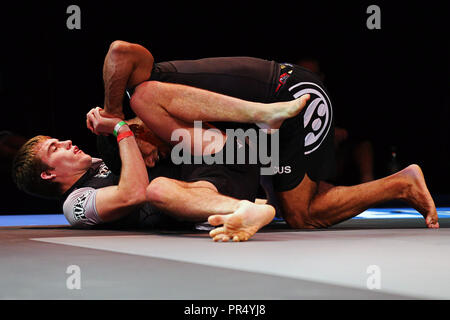 Westbury, New York, USA. 27th Sep, 2018. NICK RONAN fights against MATHEUS LUTES during the 5th RISE Invitational grappling event at the Space in Westbury, New York. Credit: Anna Sergeeva/ZUMA Wire/Alamy Live News - Stock Photo