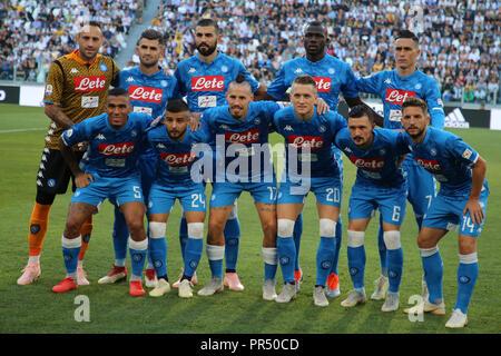 Torino , Piemonte , ITALY: 2018-09-29-  Italian Serie A football match Juventus - Napoli at the Allianz stadium in photo deployment of teams Napoli (Antonio Balasco) Credit: Antonio Balasco/Alamy Live News - Stock Photo