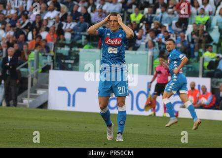 Torino , Piemonte , ITALY: 2018-09-29-  Italian Serie A football match Juventus - Napoli at the Allianz stadium in photo Piotr Zielinski delusion (Antonio Balasco) Credit: Antonio Balasco/Alamy Live News - Stock Photo