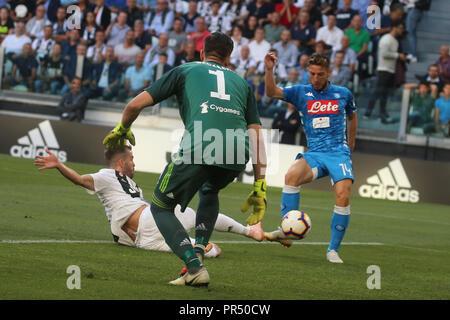 Torino , Piemonte , ITALY: 2018-09-29-  Italian Serie A football match Juventus - Napoli at the Allianz stadium in photo goal Dreies Mertens  (Antonio Balasco) Credit: Antonio Balasco/Alamy Live News - Stock Photo