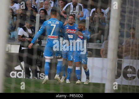 Torino , Piemonte , ITALY: 2018-09-29-  Italian Serie A football match Juventus - Napoli at the Allianz stadium in photo Dreies Mertens celebration goal (Antonio Balasco) Credit: Antonio Balasco/Alamy Live News - Stock Photo