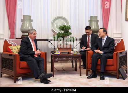 Beijing, China. 29th Sep, 2018. Yang Jiechi (R), a member of the Political Bureau of the Central Committee of the Communist Party of China (CPC) and director of the Office of the Foreign Affairs Commission of the CPC Central Committee, meets with former President of Costa Rica Oscar Arias Sanchez in Beijing, capital of China, Sept. 29, 2018. Credit: Zhang Ling/Xinhua/Alamy Live News - Stock Photo