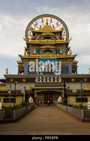 Namdroling Monastery at Kushalnagar, Coorg, Karnataka, India - Stock Photo