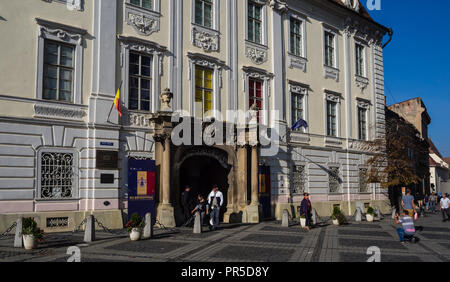 The external facade of the Brukenthal museum in Sibiu - Stock Photo