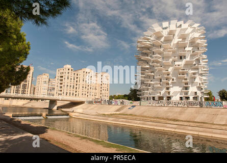 L'Arbre Blanc, a residential tree designed by Sou Fujimoto, built at the banks of the Lez river iin Montpellier, France - Stock Photo