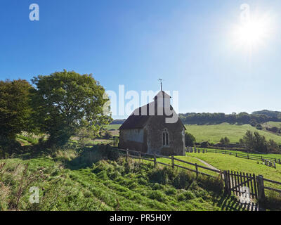 Upwaltham and the 12th Century Church of St. Mary the Virgin West Sussex - Stock Photo