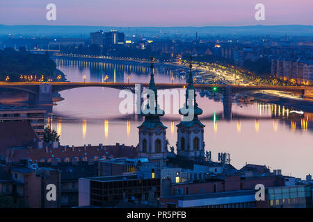 View of river Danube in the city centre of Budapest from Fisherman's Bastion. - Stock Photo