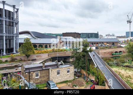 The reconstructed and preserved Victorian gasometers and Somers Town Bridge at St. Pancras Lock, King's Cross, London, UK, 2018 - Stock Photo