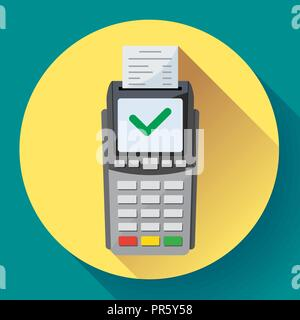 Payment machine and credit card terminal icon in flat style. - Stock Photo