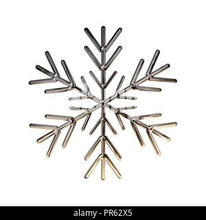 3D Design snowflake with metal texture (chrome, steel, silver) isolated on white background - Stock Photo