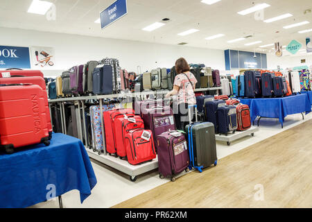 Miami Florida Kendall The Palms at Town & Country Mall Marshalls discount department store inside shopping display sale luggage suitcases woman lookin - Stock Photo