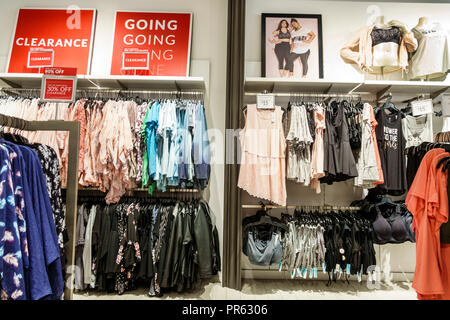 Miami Florida Kendall The Palms at Town & Country Mall Lane Bryant inside shopping display sale women's clothing plus size clearance - Stock Photo