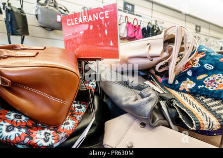 Miami Florida Kendall The Palms at Town & Country Mall Nordstrom Rack inside shopping display sale women's handbags - Stock Photo
