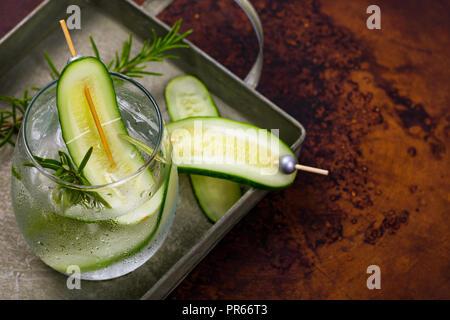 Cucumber Detox Water Background - Stock Photo