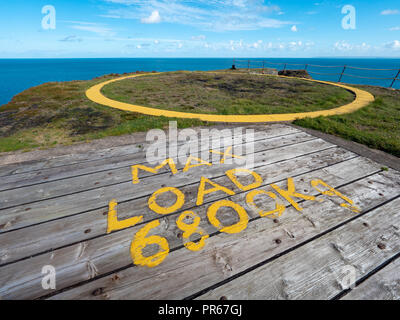 Helicopter landing platform for air/sea rescue flights on high cliffs by South Light on the southern coast of Lundy island off the coast of Devon UK - Stock Photo