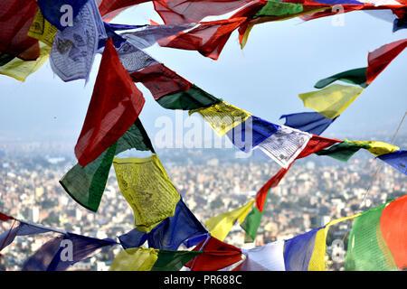 Prayer Flags in Kathmandu, Nepal - Stock Photo