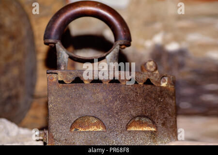 Details of antique cast iron charcoal flat.Antique antique iron heavy iron. - Stock Photo