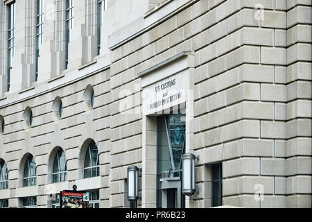 Washington DC, USA - September 14, 2018: The entrance to the US Customs and Border Protection building  on 14th Street - Stock Photo