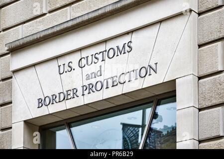 Washington DC, USA - September 14, 2018: Sign above the entrance to the US Customs and Border Protection building  on 14th Street - Stock Photo