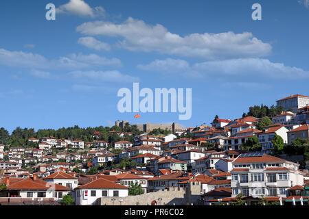 Fortress and old city Ohrid Macedonia - Stock Photo