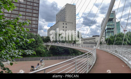 Trinity Bridge, Manchester, UK, over the River Irwell. It links the two cities of Manchester and Salford, and was designed by Spanish architect Santia - Stock Photo
