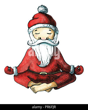 Cartoon Santa Claus in one of the poses of yoga. Painted markers isolated on white background. Postcard for Christmas and New Year. - Stock Photo
