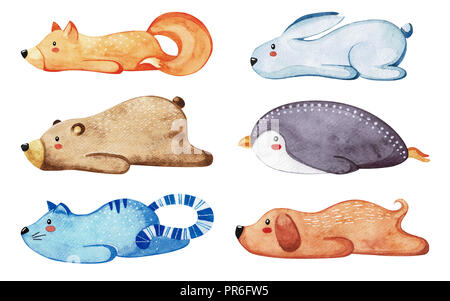 Set of different cute animals. Lazy animals. Watercolor - Stock Photo