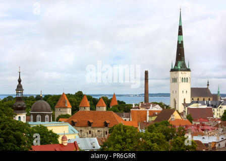 Panoramic view of the old town of Tallinn, Estonia, with the tall steeple of St. Olaf's church - Stock Photo