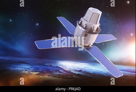 Sci-Fi sattellite on the orbit of the Earth. Elements of this image furnished by NASA . 3D illustration - Stock Photo