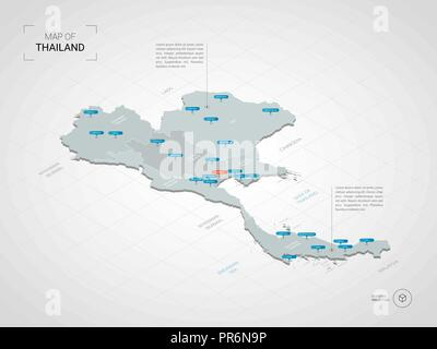 Thailand map with borders, cities, capital and administrative ...