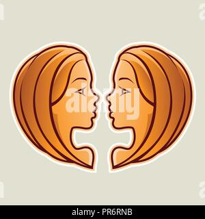 Vector Illustration of Orange Gemini or Twins Icon isolated on a White Background - Stock Photo