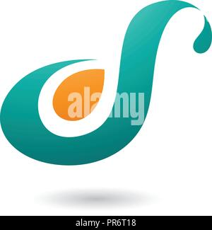 Vector Illustration of Persian Green Curvy Fun Letter D or S isolated on a White Background - Stock Photo