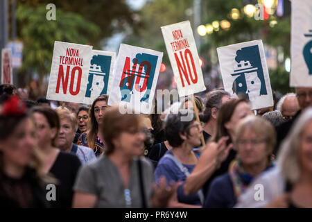 Protesters seen holding posters during a demonstration in the centre of Barcelona calling for more sustainable tourism, The protest was convened by the Barris Assembly for sustainable tourism. - Stock Photo