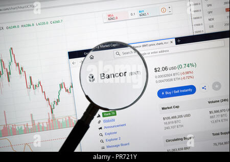 MONTREAL, CANADA - SEPTEMBER 8, 2018: Bancor altcoin site under magnifying glass. Blockchain is a growing list of records which are linked using crypt - Stock Photo