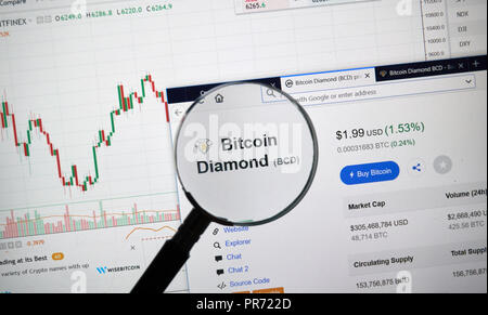 MONTREAL, CANADA - SEPTEMBER 8, 2018: Bitcoin Diamond altcoin site under magnifying glass. Blockchain is a growing list of records which are linked us - Stock Photo
