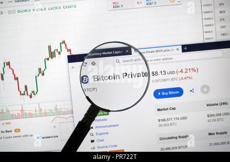 MONTREAL, CANADA - SEPTEMBER 8, 2018: Bitcoin Private altcoin site under magnifying glass. Blockchain is a growing list of records which are linked us - Stock Photo