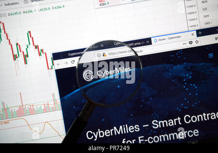 MONTREAL, CANADA - SEPTEMBER 8, 2018: CyberMiles altcoin site under magnifying glass. Blockchain is a growing list of records which are linked using c - Stock Photo