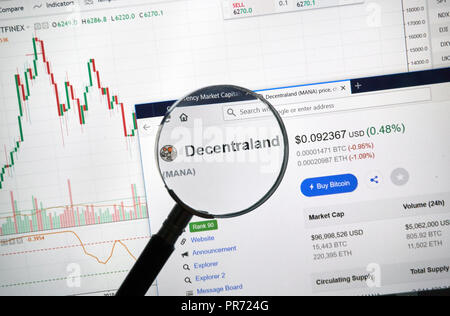 MONTREAL, CANADA - SEPTEMBER 8, 2018: Decentraland altcoin site under magnifying glass. Blockchain is a growing list of records which are linked using - Stock Photo