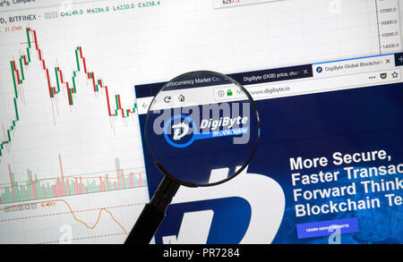 MONTREAL, CANADA - SEPTEMBER 8, 2018: DigiByte altcoin site under magnifying glass. Blockchain is a growing list of records which are linked using cry - Stock Photo
