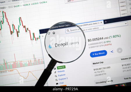 MONTREAL, CANADA - SEPTEMBER 8, 2018: Dropil altcoin site under magnifying glass. Blockchain is a growing list of records which are linked using crypt - Stock Photo